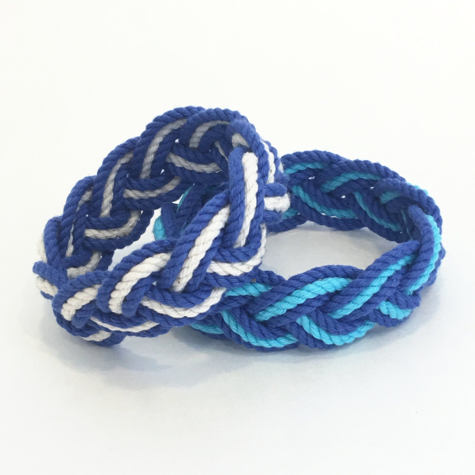 Nautical Striped Sailor Knot Bracelets Summer Blues Handmade sailor knot American Made in Mystic, CT $ 6.00