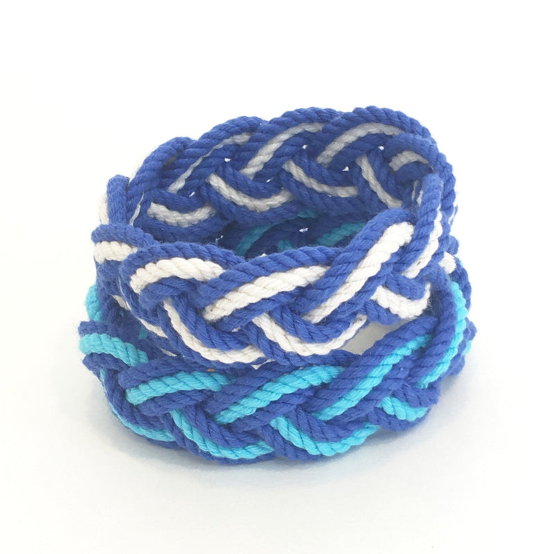 Nautical Knot Striped Sailor Knot Bracelets Summer Blues handmade at Mystic Knotwork