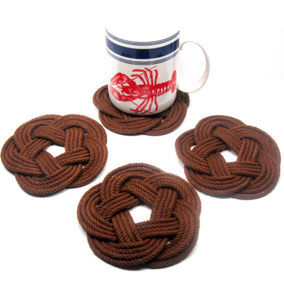 Sailor Knot Coasters, woven in Brown Cotton , Set of 4 - Mystic Knotwork nautical knot
