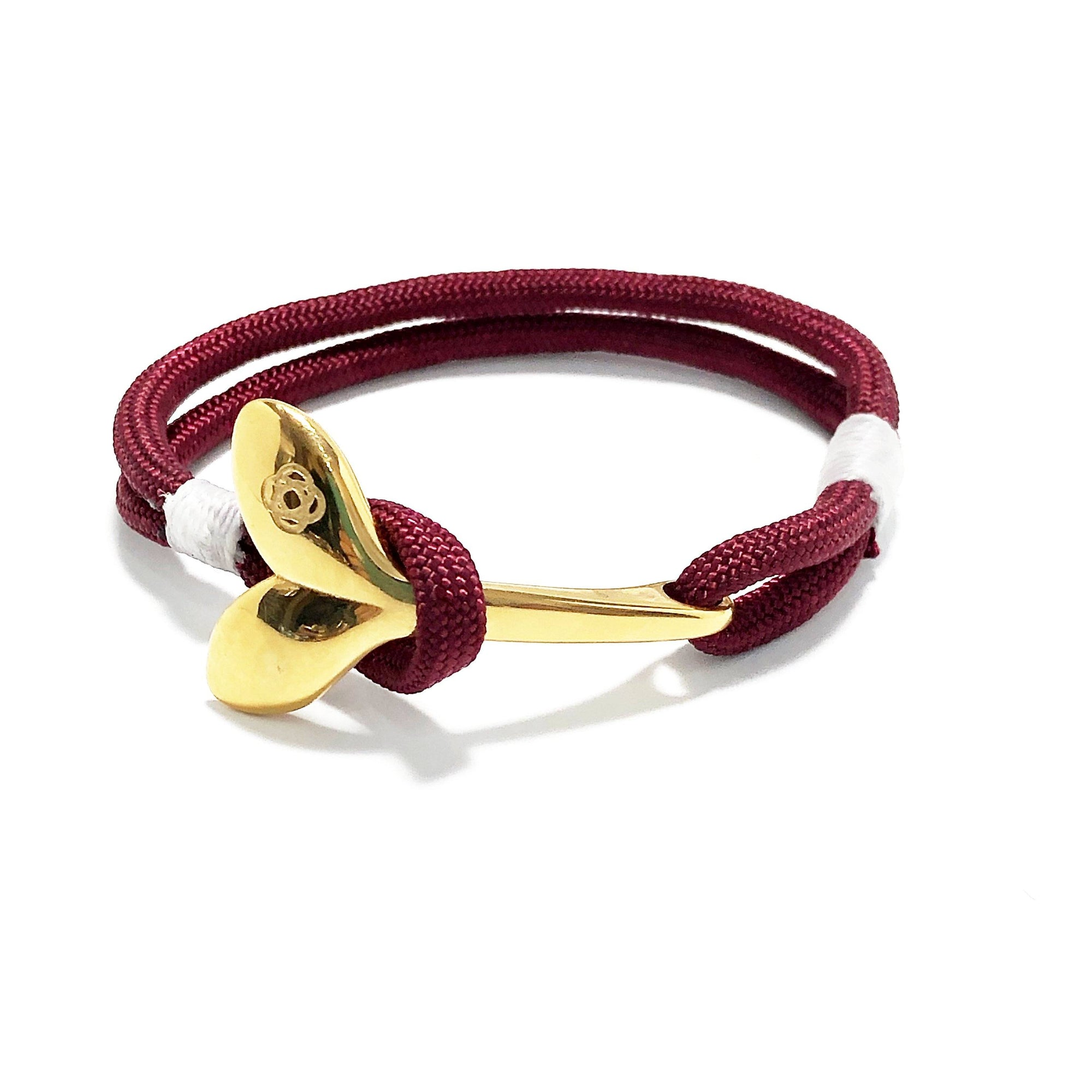 Burgundy Nautical Whale Tail Bracelet Brass 022