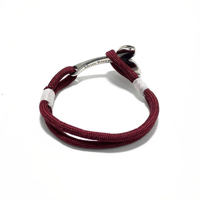 Nautical Knot Burgundy Nautical Whale Tail Bracelet Stainless Steel 22 handmade at Mystic Knotwork