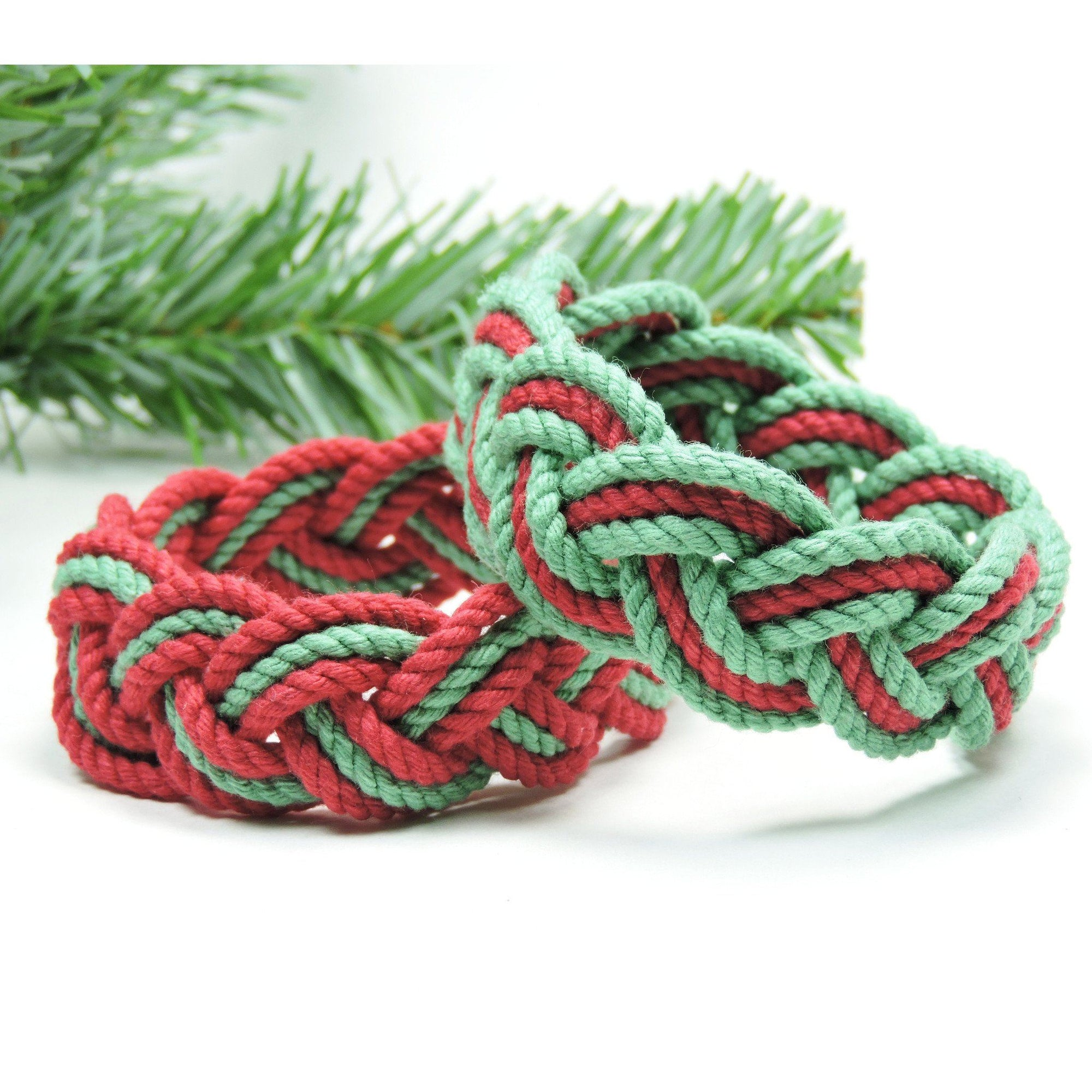 Nautical Striped Sailor Knot Bracelet, Christmas Colors Handmade sailor knot American Made in Mystic, CT $ 6.00