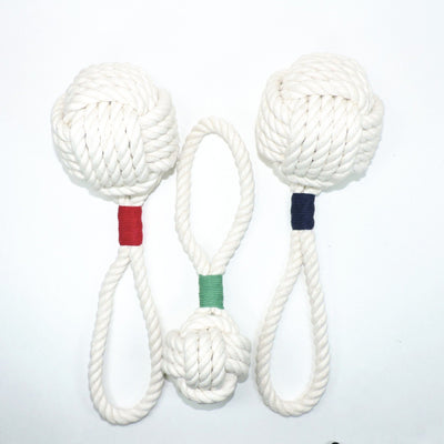 Nautical Knot Monkey Fist Rope Dog Toy handmade at Mystic Knotwork