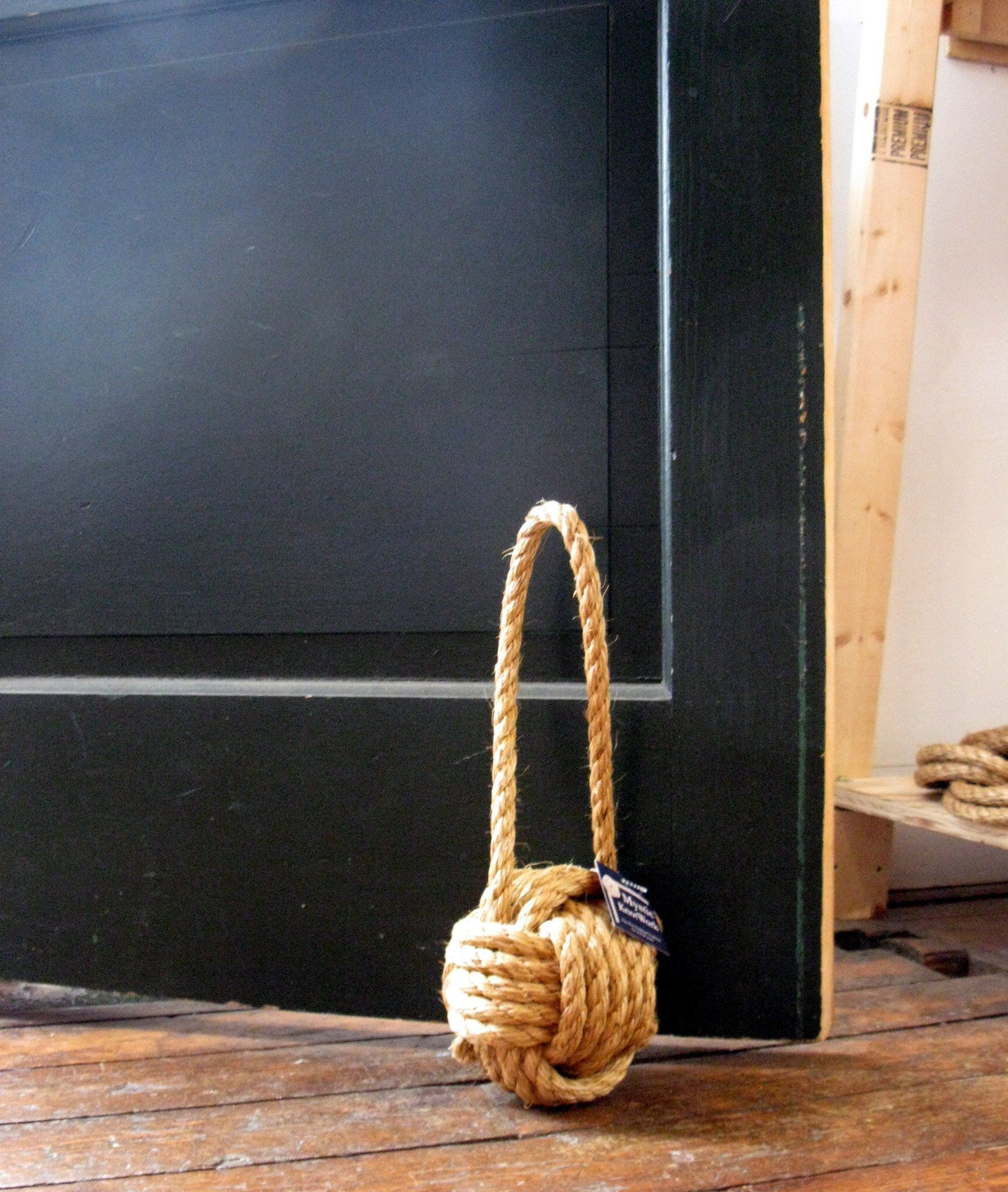 Nautical Monkey Fist Door Stop, Small Manila Handmade sailor knot American Made in Mystic, CT $ 35.00