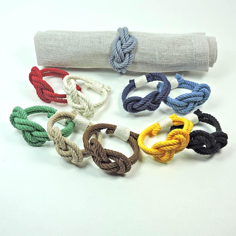 Figure Eight Infinity Knot Napkin Rings, Solid Colors, Set Of 4