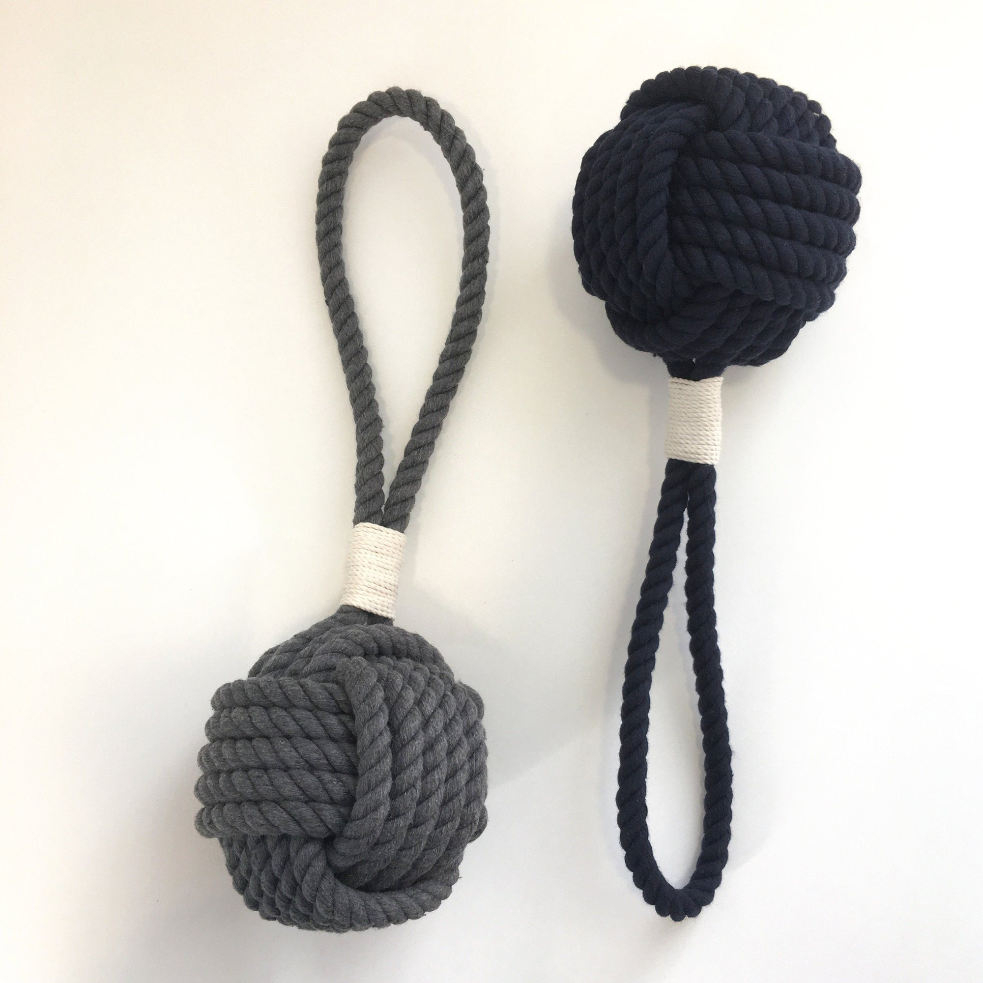 Nautical Knot Monkey Fist Rope Dog Toy - New Colors - Gray and Navy Blue handmade at Mystic Knotwork