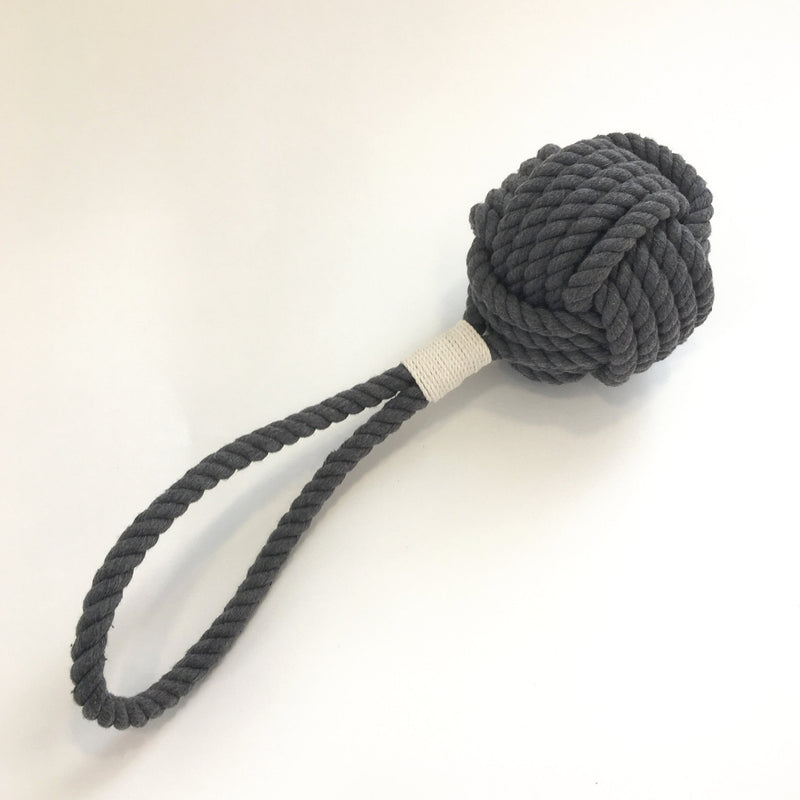 Nautical Monkey Fist Rope Dog Toy - New Colors - Gray and Navy Blue Handmade sailor knot American Made in Mystic, CT $ 18.00