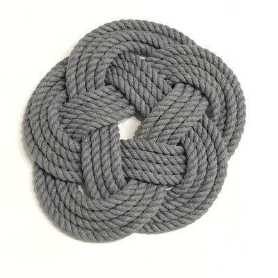 "7"" Nautical Sailor Knot Trivet, Natural Cotton Rope, Small"