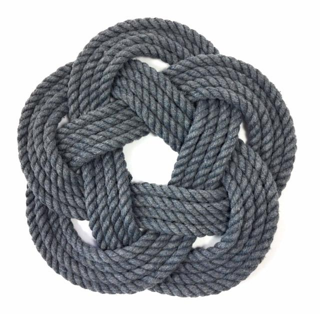 "10"" Nautical Sailor Knot Trivet, Gray Cotton Rope, Large"