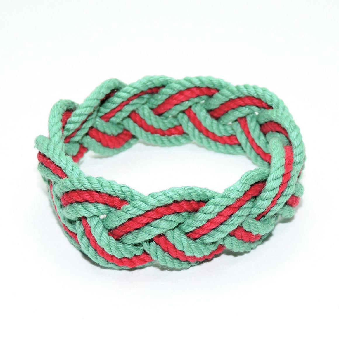 Striped Sailor Knot Bracelet, Christmas Colors - Mystic Knotwork nautical knot