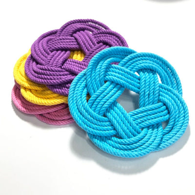 Nautical Spring Nautical Coaster Bright Color set: Pink, Yellow, Purple, and Turquoise Handmade sailor knot American Made in Mystic, CT $ 18.00