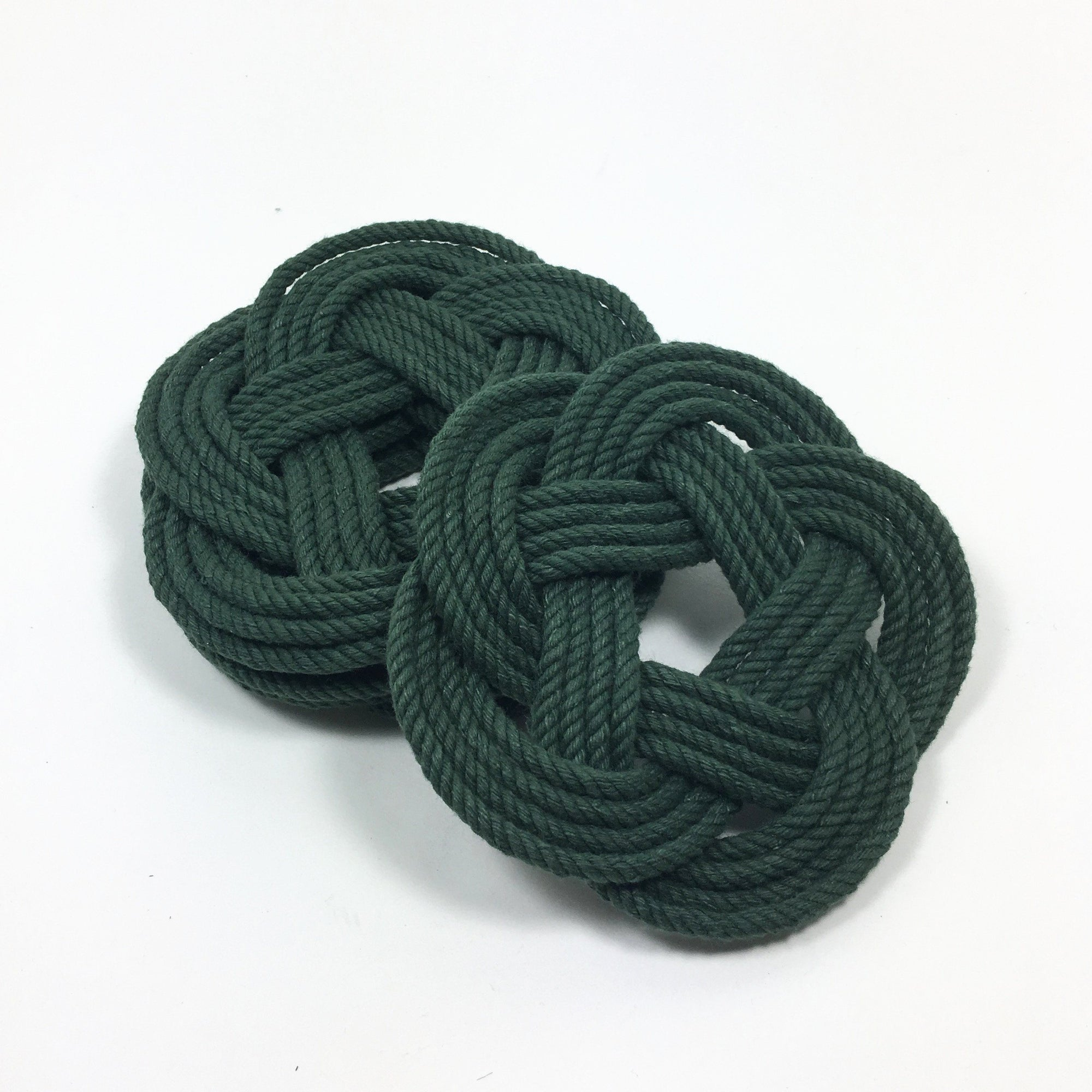 Nautical Knot Sailor Knot Coasters, Forest Green , Set of 4 handmade at Mystic Knotwork