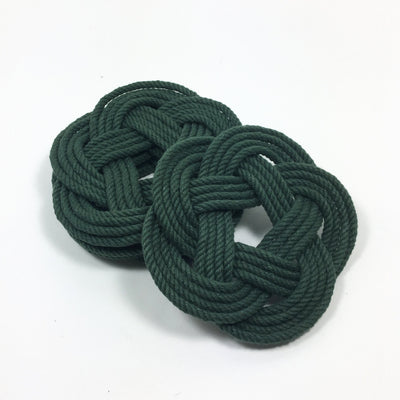 Sailor Knot Coasters, Forest Green , Set of 4 - Mystic Knotwork nautical knot