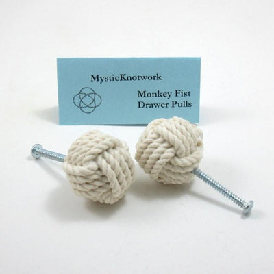 Nautical Monkey Fist Drawer Pull Knobs Handmade sailor knot American Made in Mystic, CT $ 8.50