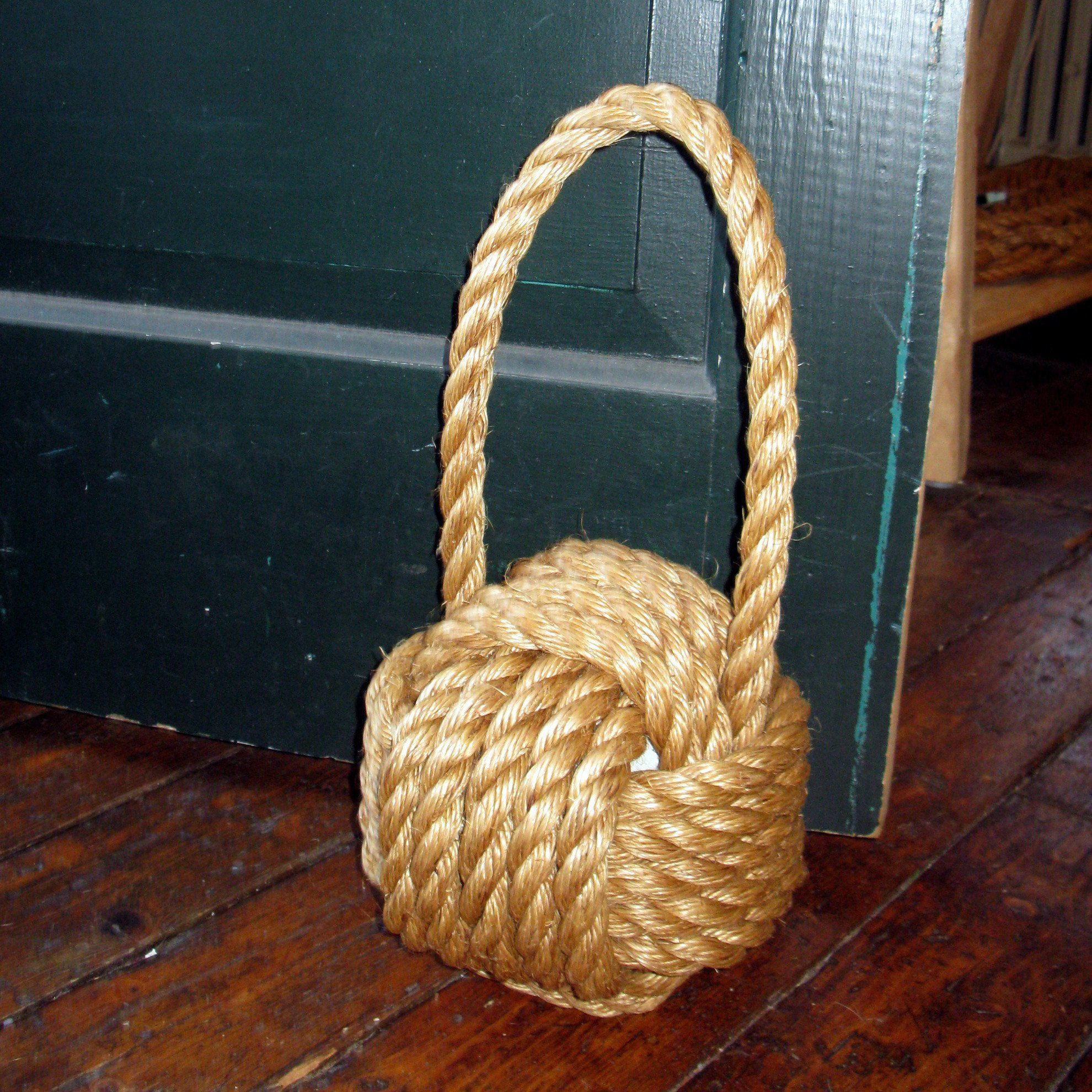 Nautical Knot Monkey Fist Door Stop, Large Manila handmade at Mystic Knotwork