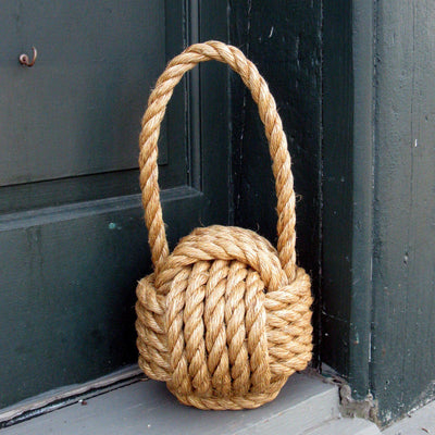 Monkey Fist Door Stop, Large Manila - Mystic Knotwork nautical knot
