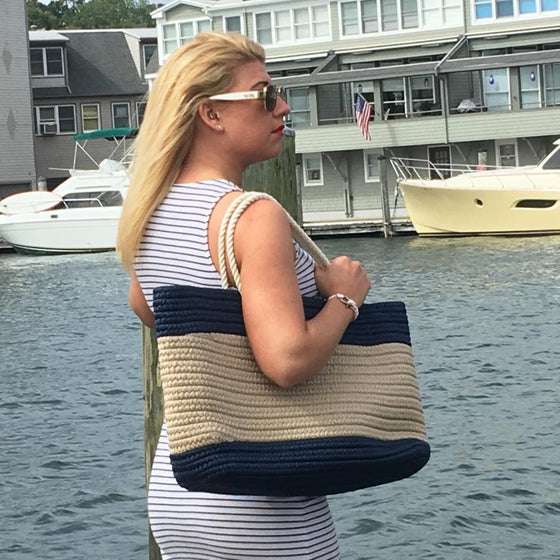Nautical Stripe Tote - Large Navy and Tan