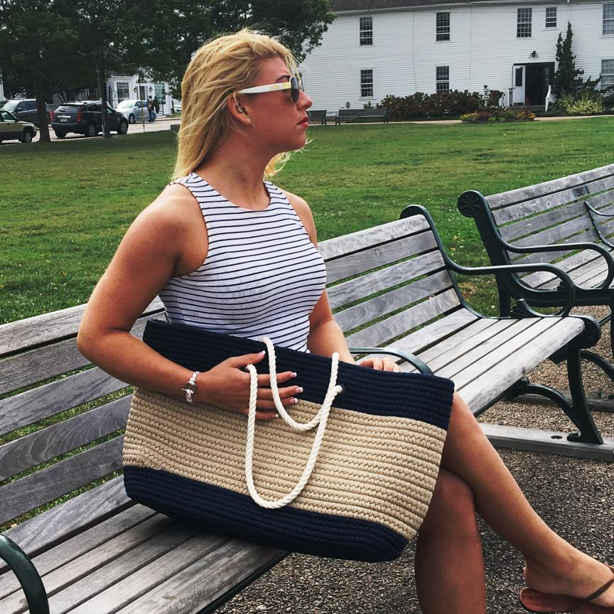 Nautical Stripe Tote - Large Navy and Tan - Mystic Knotwork nautical knot