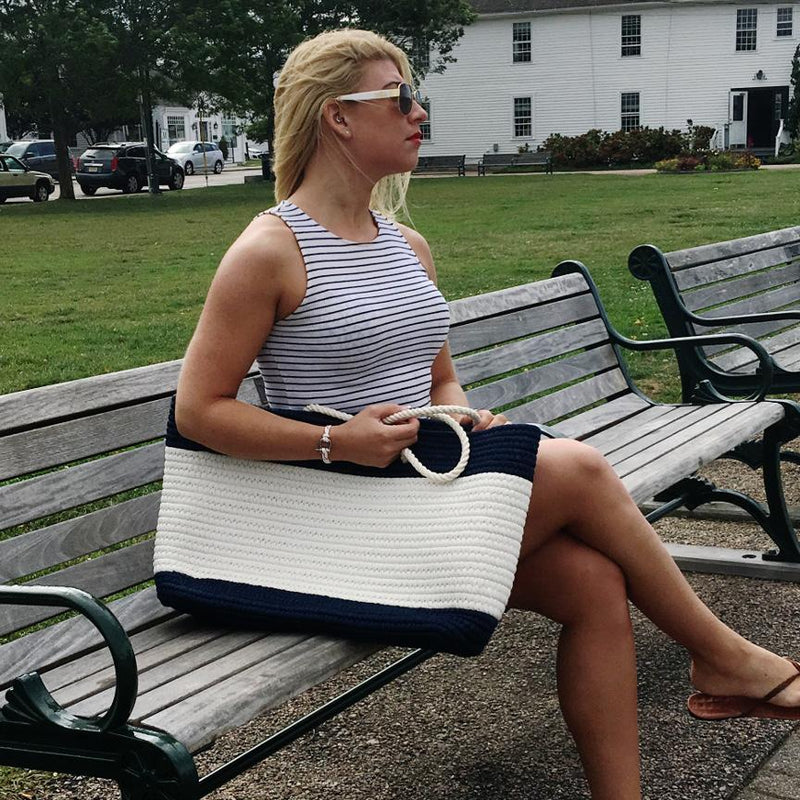 Nautical Nautical Stripe Tote - Large Navy and White Handmade sailor knot American Made in Mystic, CT $ 99.00