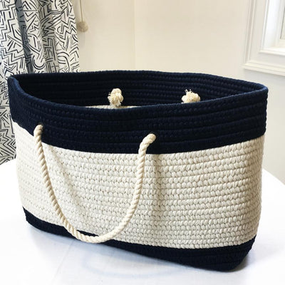 Nautical Knot Nautical Stripe Tote - Large Navy and White handmade at Mystic Knotwork
