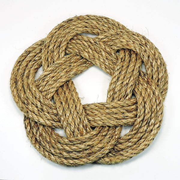 Nautical Sailor Knot Trivet, Manila Rope, Large - Mystic Knotwork nautical knot