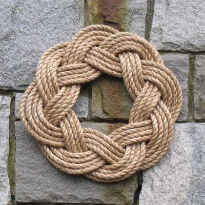Nautical Wreath, Manila Rope Wreath Sailor Knot Wreath for wall or Centerpiece - Mystic Knotwork nautical knot