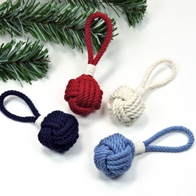 Nautical Knot Monkey Fist Christmas Ornament, Nautical Holiday Ball handmade at Mystic Knotwork