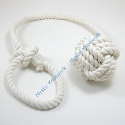 Nautical Knot Monkey Fist Curtain Tie Back handmade at Mystic Knotwork
