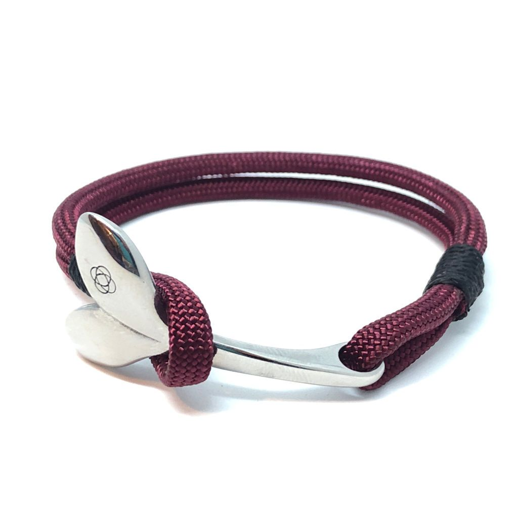 Nautical The Mystic Whaler Bracelet, a Whale Tail signature Burgundy and black 22 Handmade sailor knot American Made in Mystic, CT $ 25.00