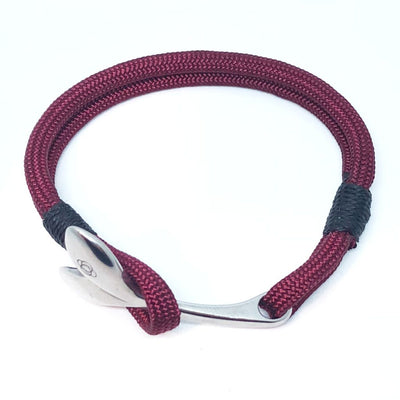 Nautical Knot The Mystic Whaler Bracelet, a Whale Tail signature Burgundy and black  22 handmade at Mystic Knotwork