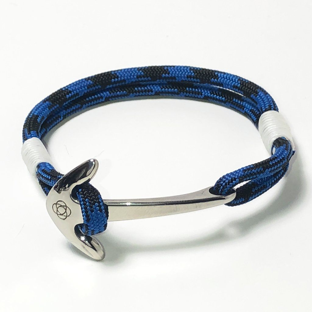 Nautical Black and Blue Nautical Anchor Bracelet Stainless Steel 098 Handmade sailor knot American Made in Mystic, CT $ 25.00