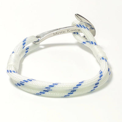 Nautical Blue Stripe Nautical Anchor Bracelet Stainless Steel 165 Handmade sailor knot American Made in Mystic, CT $ 25.00
