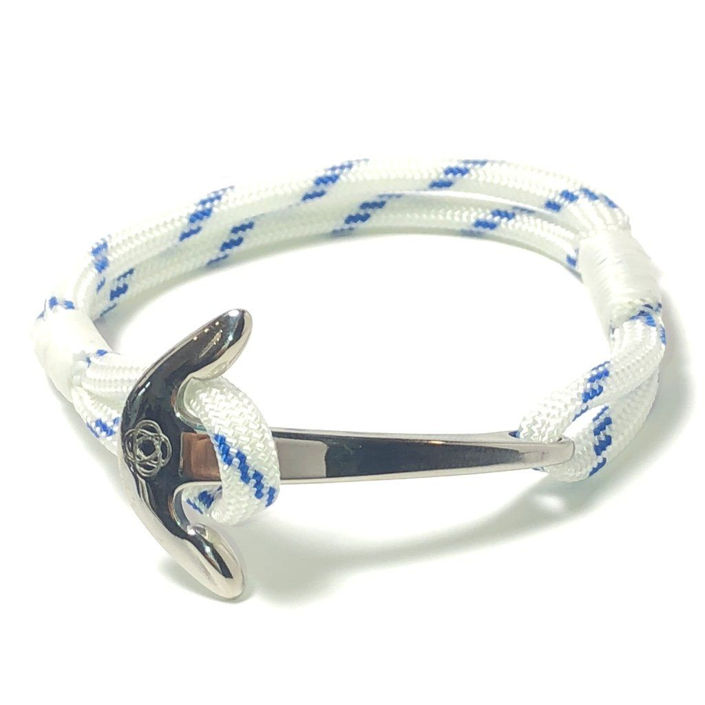 Nautical Knot Blue Stripe Nautical Anchor Bracelet Stainless Steel 165 handmade at Mystic Knotwork