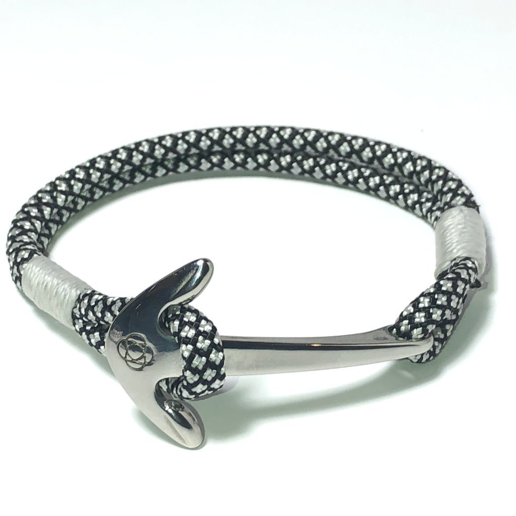 Nautical Knot Black and White Nautical Anchor Bracelet Stainless Steel 167 handmade at Mystic Knotwork