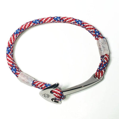 Nautical Patriotic Nautical Anchor Bracelet Stainless Steel 187 Handmade sailor knot American Made in Mystic, CT $ 25.00