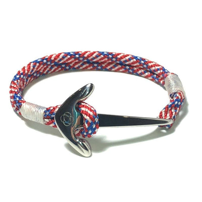 Nautical Knot Patriotic Nautical Anchor Bracelet Stainless Steel 187 handmade at Mystic Knotwork