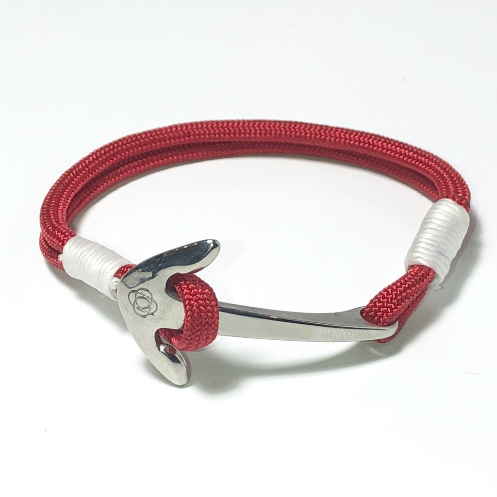 Nautical Knot Red Nautical Anchor Bracelet Stainless Steel 028 handmade at Mystic Knotwork