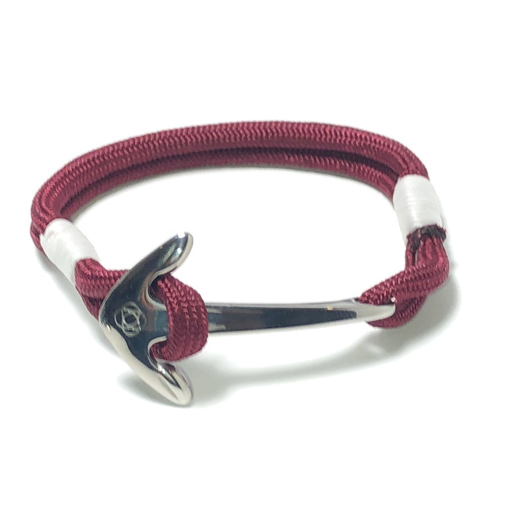 Nautical Knot Burgundy Nautical Anchor Bracelet Stainless Steel 022 handmade at Mystic Knotwork