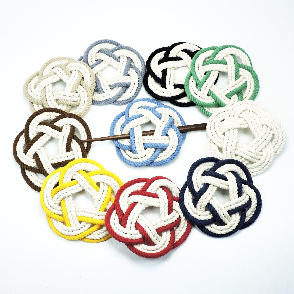 Sailor Knot Hair Stick Barrette, Nautical Colors - Mystic Knotwork nautical knot