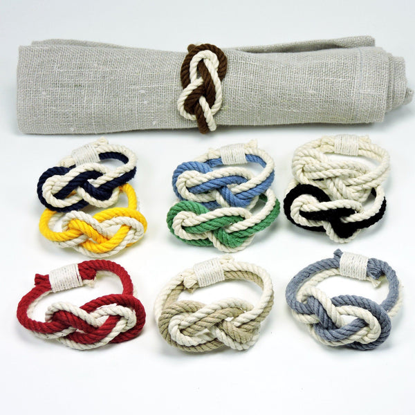 Figure Eight Infinity Knot Napkin Rings, Nautical Colors, Set of 4 - Mystic Knotwork nautical knot