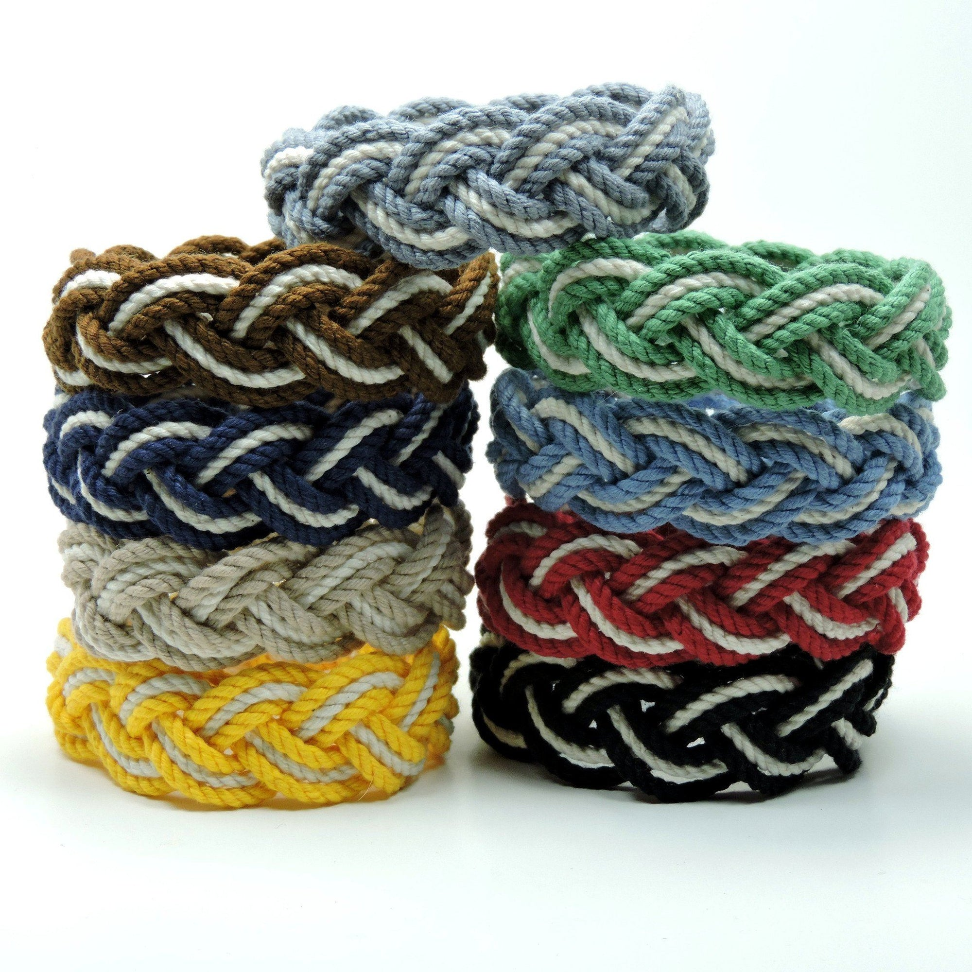 Nautical Striped Sailor Bracelet, Nautical Colors w/ White Stripe Handmade sailor knot American Made in Mystic, CT $ 4.80