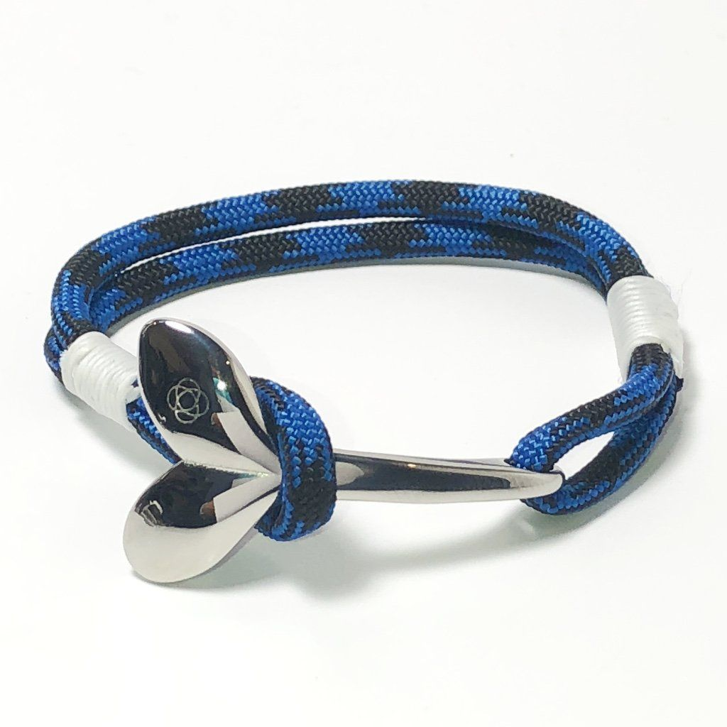 Nautical Knot Black and Blue Nautical Whale Tail Bracelet 98 handmade at Mystic Knotwork