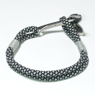 Nautical Knot Black and White Nautical Whale Tail Bracelet Stainless Steel 167 handmade at Mystic Knotwork