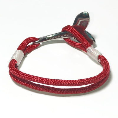 Nautical Knot Red Nautical Whale Tail Bracelet Stainless Steel 028 handmade at Mystic Knotwork