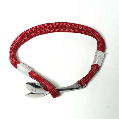 Nautical Red Nautical Whale Tail Bracelet Stainless Steel 028 Handmade sailor knot American Made in Mystic, CT $ 25.00