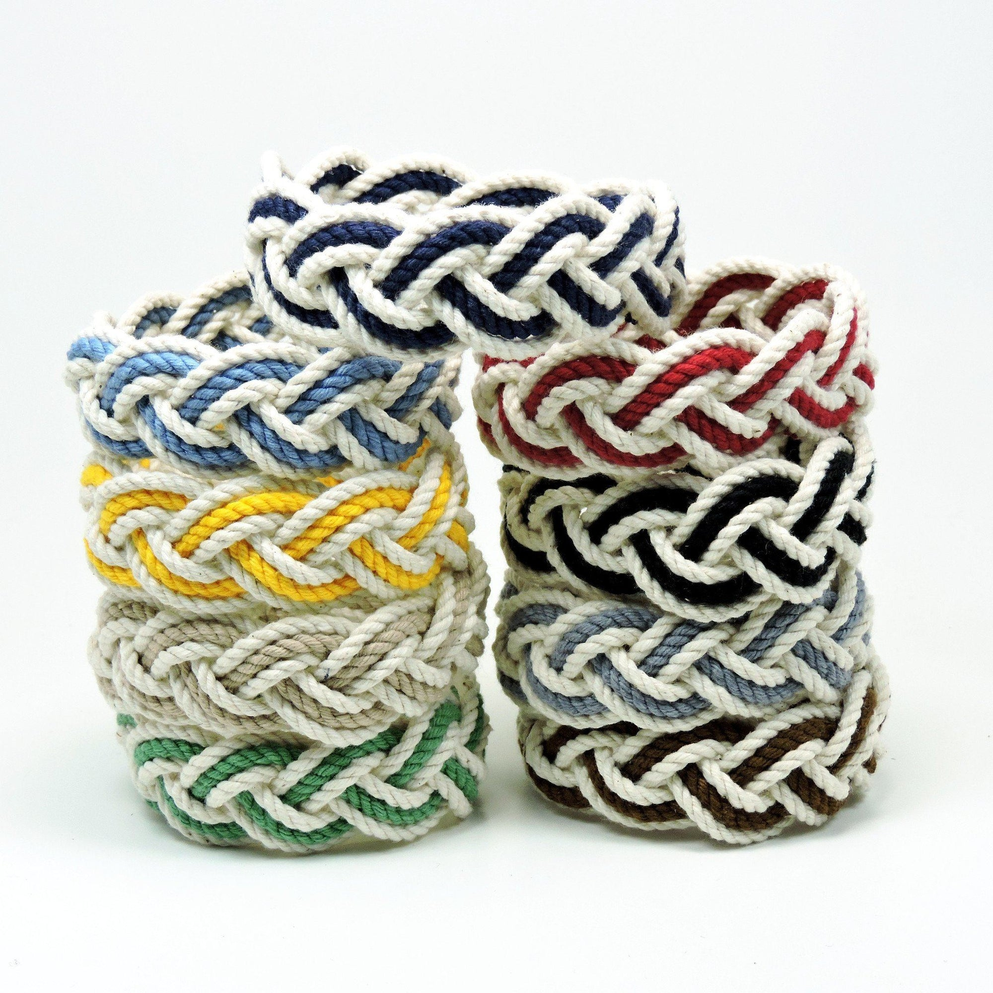 Nautical Knot Striped Sailor Bracelet, White w/ Nautical Color Stripe handmade at Mystic Knotwork