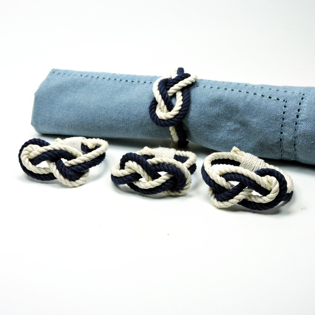 Nautical Figure Eight Infinity Knot Napkin Rings, Sets of 4 Handmade sailor knot American Made in Mystic, CT $ 14.00