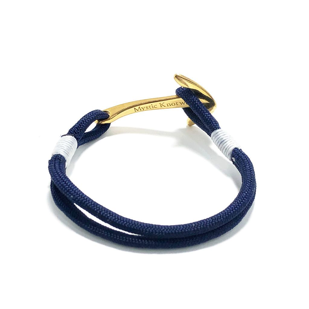 Navy Blue Nautical Anchor Bracelet Brass 020