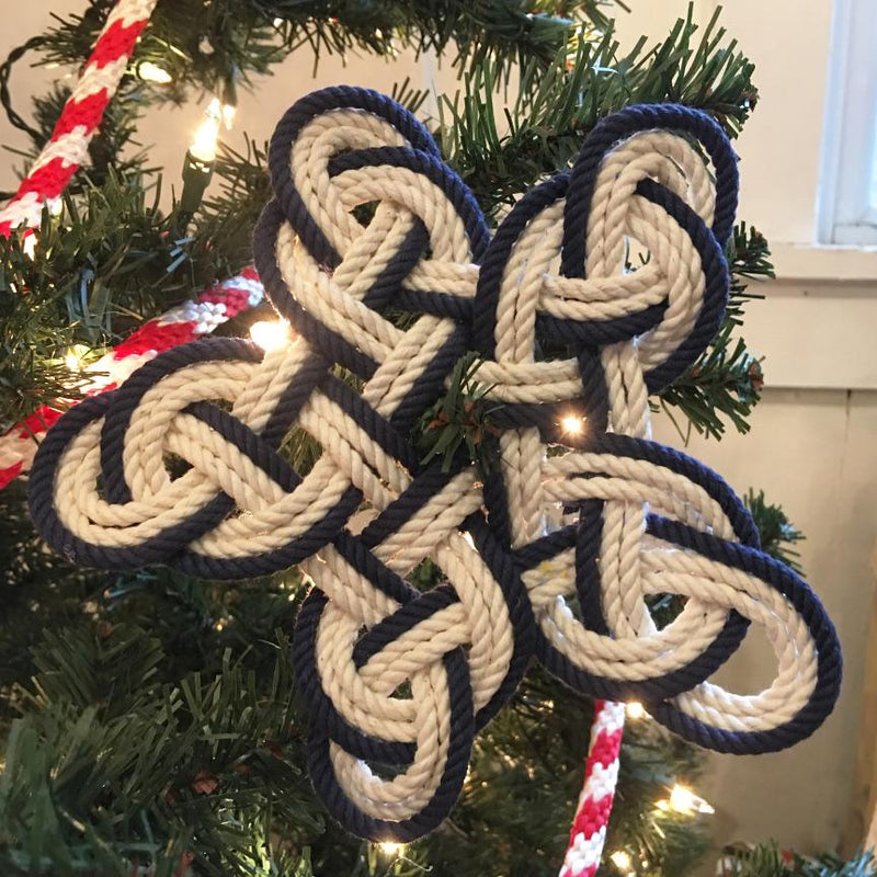 Nautical Knot Nautical Woven Star, Cotton Knot for Christmas Tree Topper or Home Decoration handmade at Mystic Knotwork