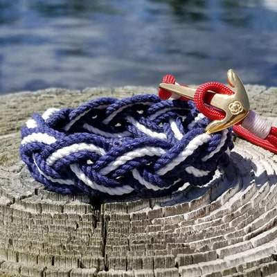 Striped Sailor Bracelet, Nautical Colors w/ White Stripe